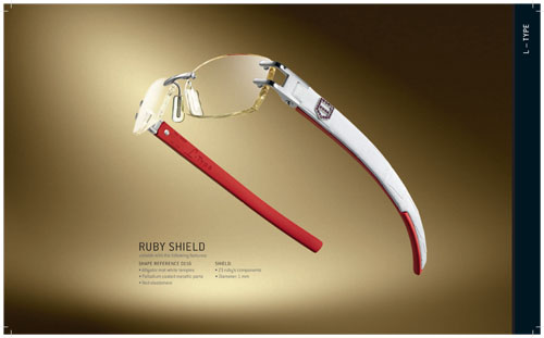 TAG Heuer L-Type Series Ruby Shield Eyeglasses with Leather Temples