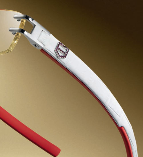 TAG Heuer L-Type Eyeglasses White Leather Temple with Ruby Shield Temple Detail