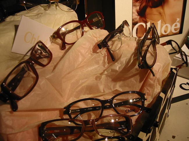 Chloe Eyeglasses on Display in Custom Display Cases at Urban Optiques