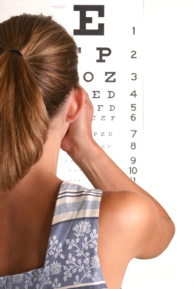 Image of Woman Checking Her Vision at an Eyechart