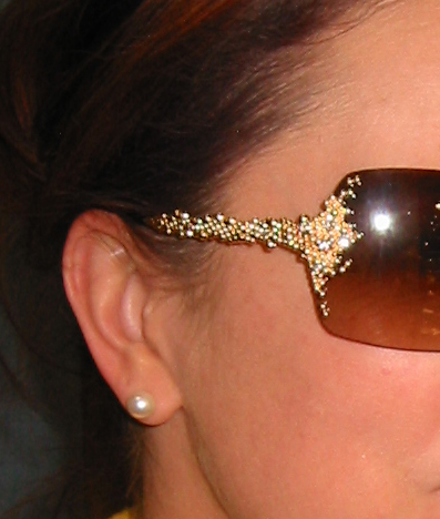 Close Up of Temple on FRED Pearls Sunglasses with Diamonds