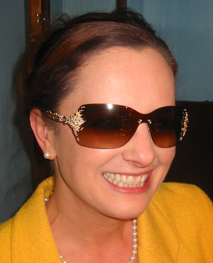 Dr. Michelle in FRED Pearls Sunglasses Featuring Inset Diamonds