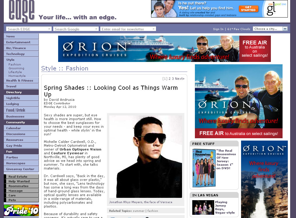 EDGE Magazine Spring Shades &amp; Sunglasses Feature