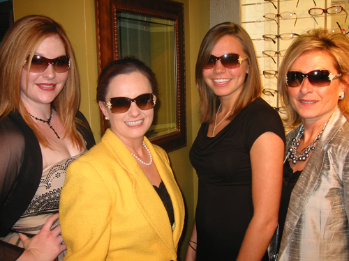 The Urban Optiques Team and Deb Signorello Modeling the FRED Pearls Sunglasses
