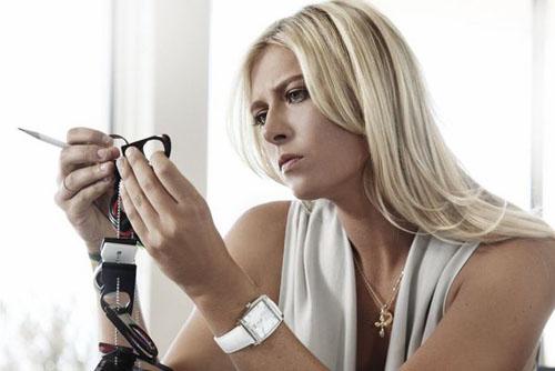 Maria Sharapova Inspecting TAG Heuer Eyewear and Sunglass Materials