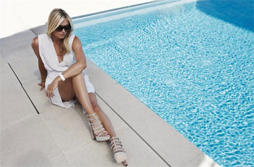 TAG Heuer Maria Sharapova Eyewear Photo Shoot - Poolside with TAG Heuer Eyeglasses