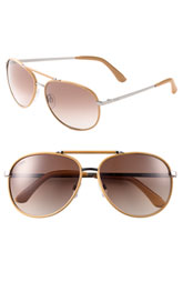 Tod's Leather Rimmed Aviator Sunglasses
