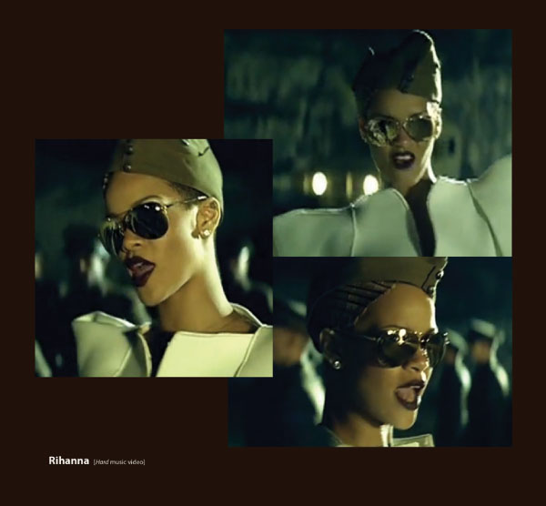 Rihanna in Badgley Mischka Gold Perry Sunglasses by Sama