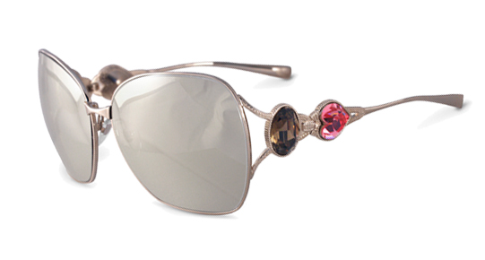 Sama Heart of Gold Sunglasses in Platinum with 18K White Gold Lenses