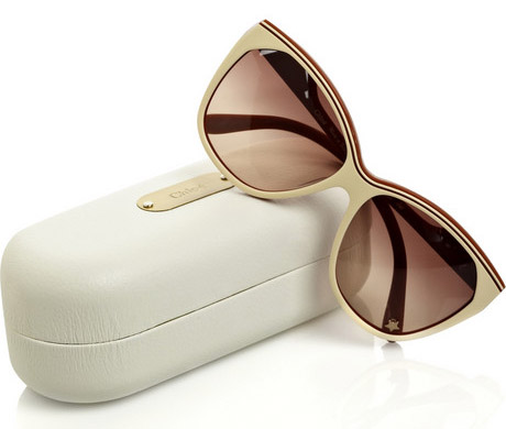 Chloe Tilia Sunglasses in Cream and Brown