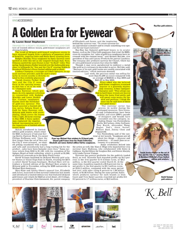 A Golden Era for Eyewear: Article in WWD on Gold Sunglasses featuring Urban Optiques
