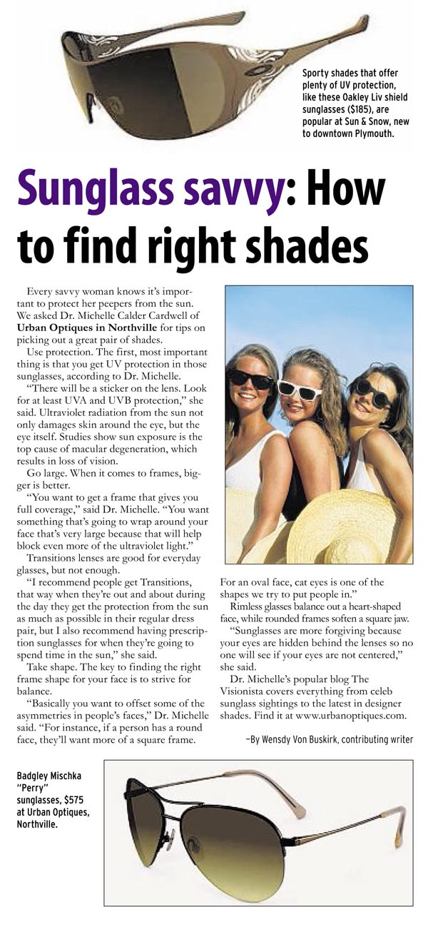 Sunglass Savvy Article in Hometown Life Woman Featuring Urban Optiques
