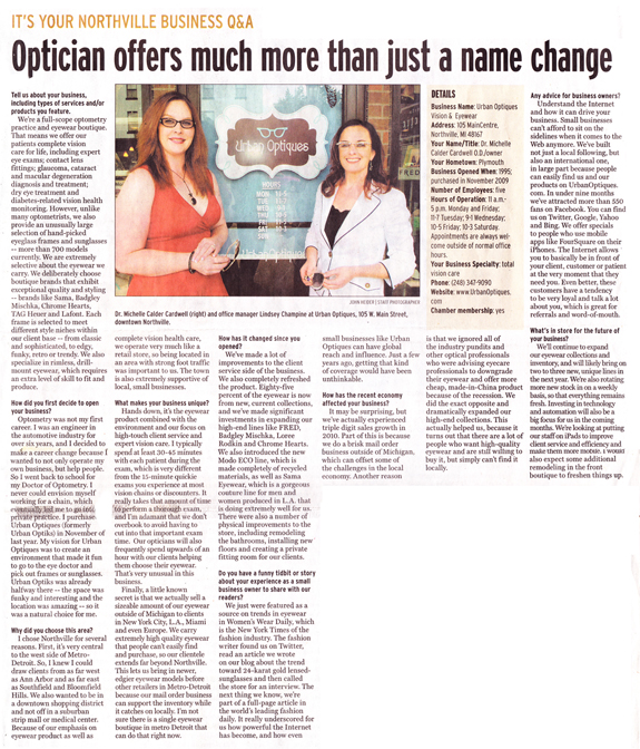 Urban Optiques Vision & Couture Eyewear Featured in Northville Record