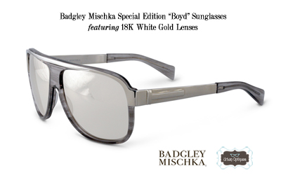 Badgley Mischka Special Edition Boyd Sunglasses with 18K White Gold Couture Lenses