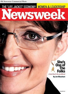 Palin Featured on Cover of Newsweek in her Kawasaki Glasses